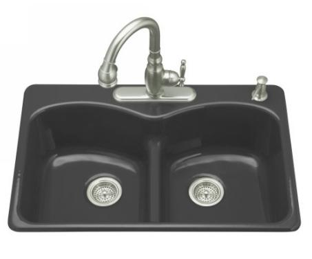 kohler k 6626 5 7 langlade smart divide kitchen sink 5 hole faucet drilling black faucet and accessories not included