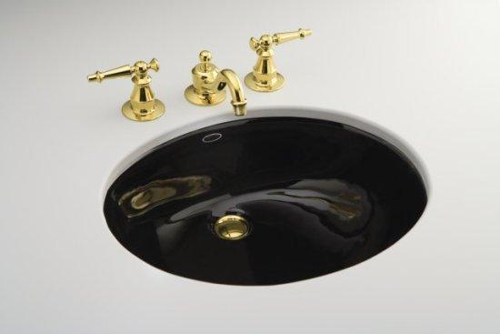 kohler k 2210 7 caxton 17 basin undermount lavatory sink black fauct not included