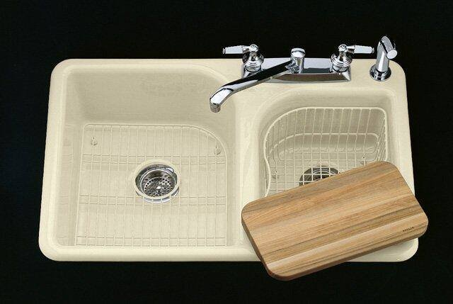 kohler k 5948 4 0 efficiency self rimming kitchen sink with four hole faucet drilling white faucet and accessories not included
