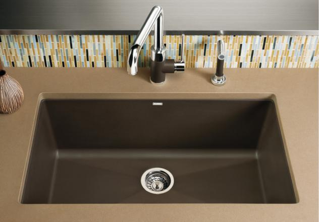 blanco 440147 precis super single bowl undermount silgranit kitchen sink cafe brown