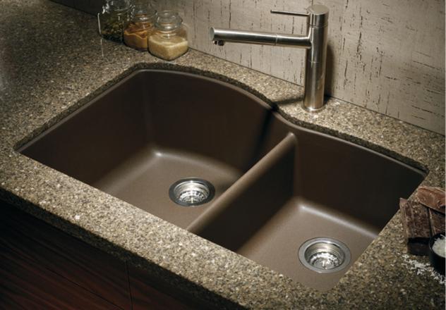 blanco 440177 diamond 1 3 4 bowl silgranit ii undermount kitchen sink cafe brown