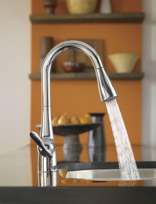 moen 7594c arbor single handle high arc pulldown kitchen faucet chrome