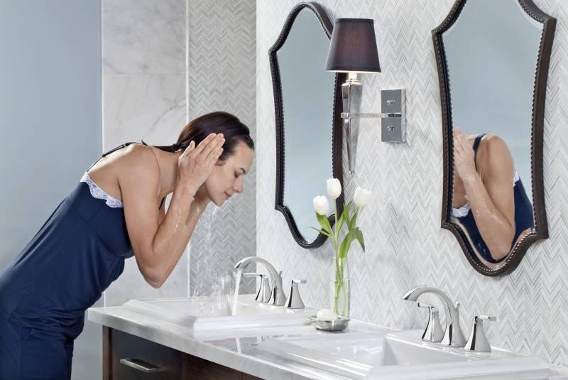 moen t6905 voss two handle high arc widespread lavatory faucet trim chrome