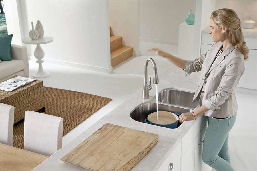 moen 7594esrs arbor single handle hole pull down kitchen faucet with motionsense spot resist stainless