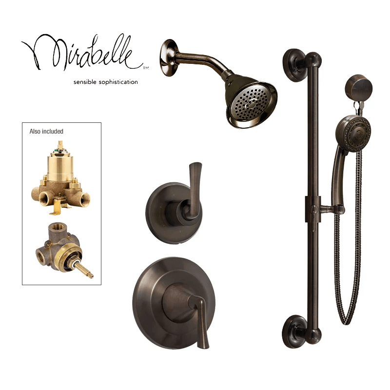 Mirabelle Brushed Nickel Luxury Shower System Includes