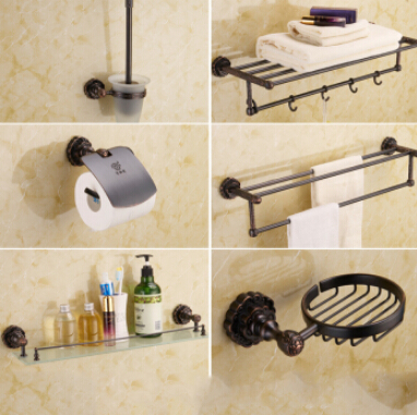 5-piece vintage oil rubbed bronze carved bathroom accessory sets