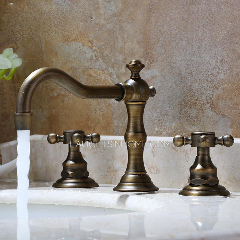 Vintage Antique Bronze Three Hole Bathroom Sink Faucet