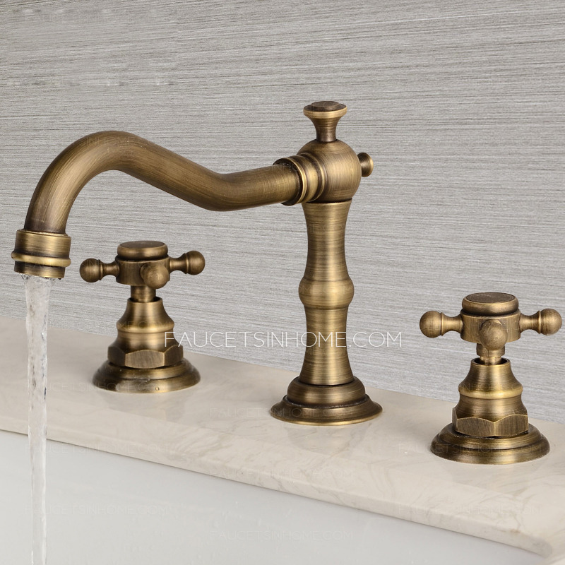 antique brass three hole cross handle bathroom faucet