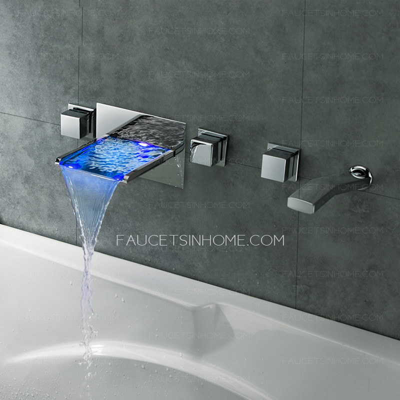 high end waterfall wall mount bathtub faucet with hand shower ftsih15042016309