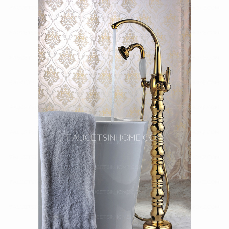 Luxury Gold Roman Style Freestanding Bathtub Shower Faucet