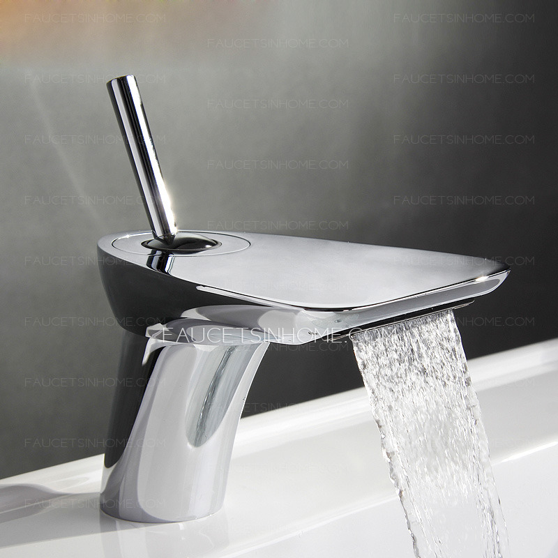 Cool Rocker Shaped Handle Sector Waterfall Bathroom Faucet