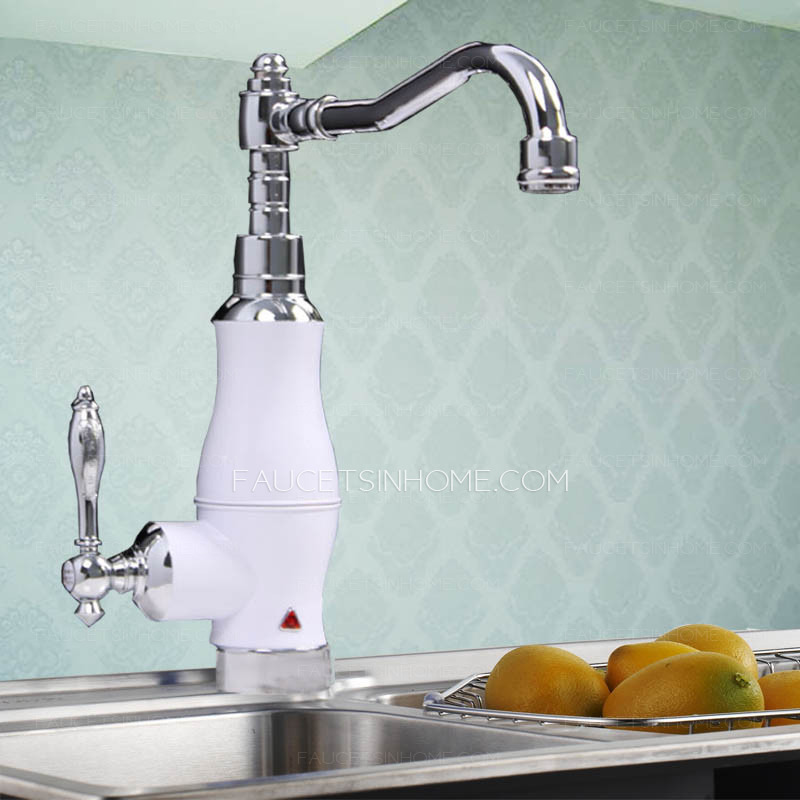 Overstock Electric White Painting Single Handle Faucet Kitchen