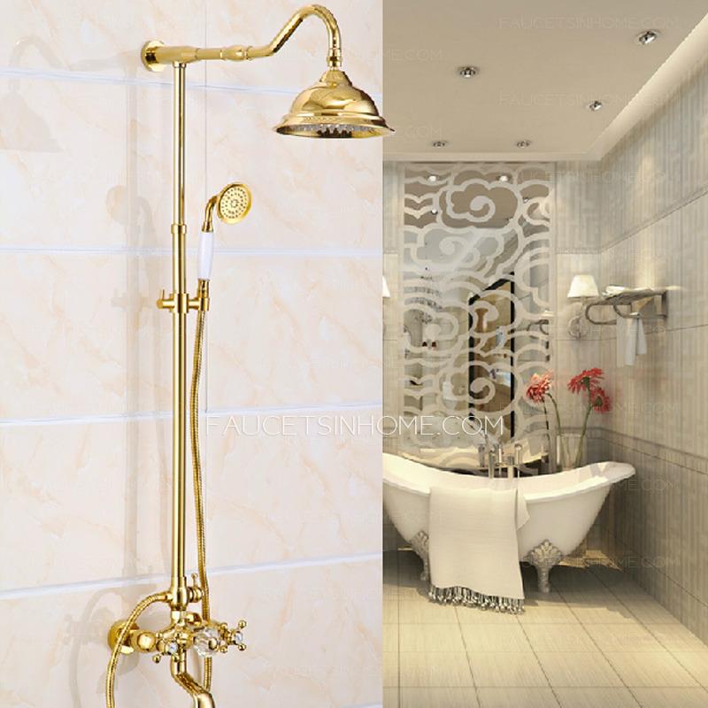 Luxury Polished Brass Vintage Handle Shower Faucet System