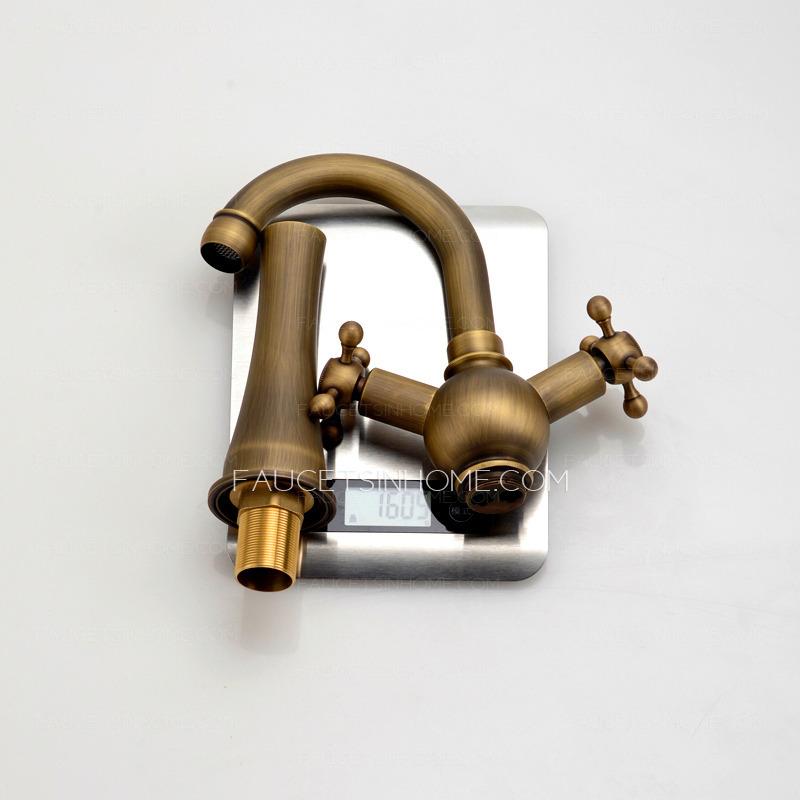 heightening antique brass bathroom faucet vessel mount
