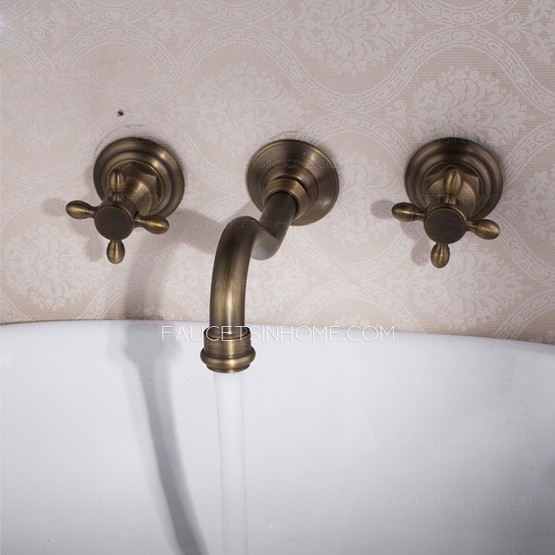 vintage wall mount three hole antique brass bathroom faucets fth9401