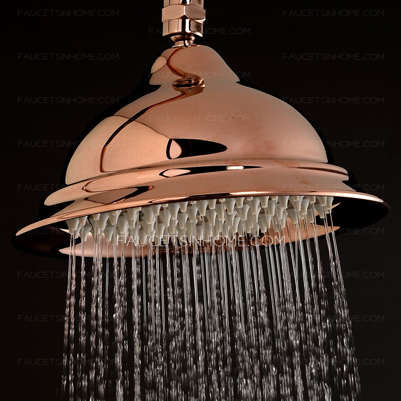 Unique Rose Gold Top Shower Head And Faucets System