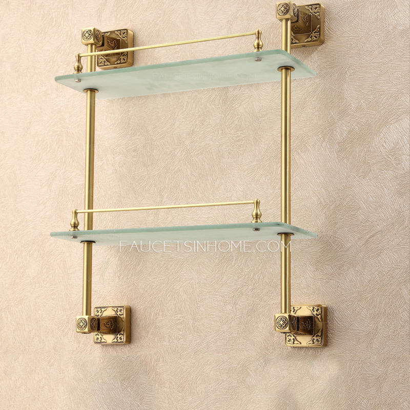 Expensive Brass Antique Bronze Bathroom Glass Shelves