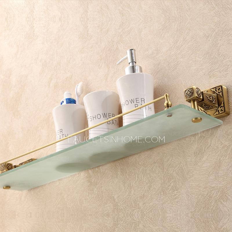Antique Bronze Single Bathroom Glass Shelves