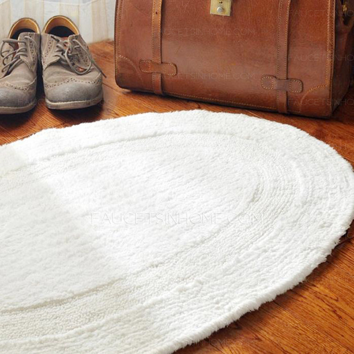 Simple White Oval Shaped 236354 Inch Bathroom Rug