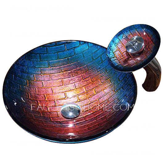 blue and red glass vessel sinks plaid single round bowl with faucet fth1608191020591