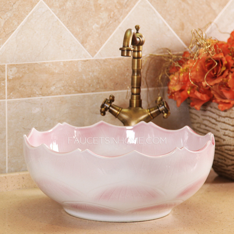 pink ceramic round vessel sinks wave shape single bowl fth1608231014251