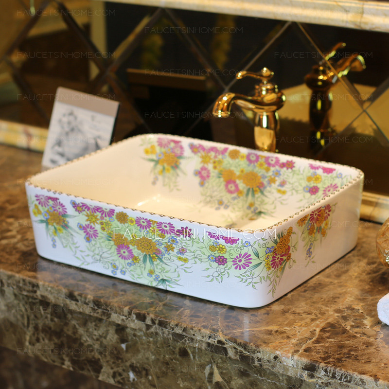White Rectangle Porcelain Bathroom Sinks Colorful Floral
