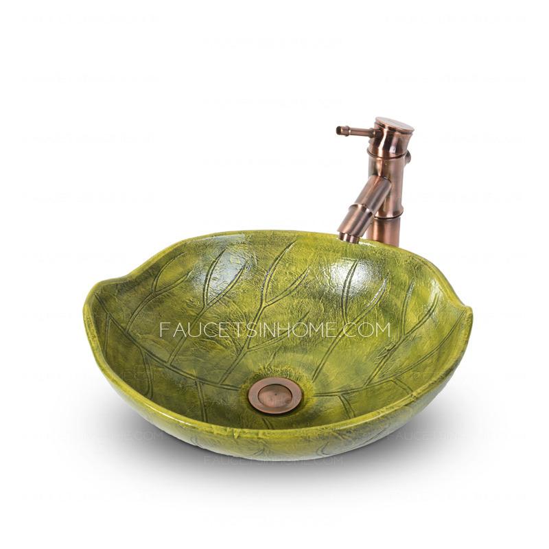 Green Leaf Shape Porcelain Vessel Sinks Pattern Carved