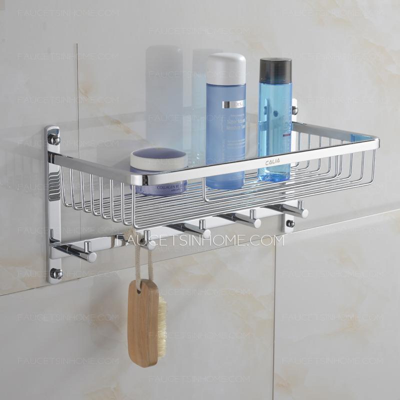 Brass Bathroom Hanging Shelf With Five Hooks Chrome Finish