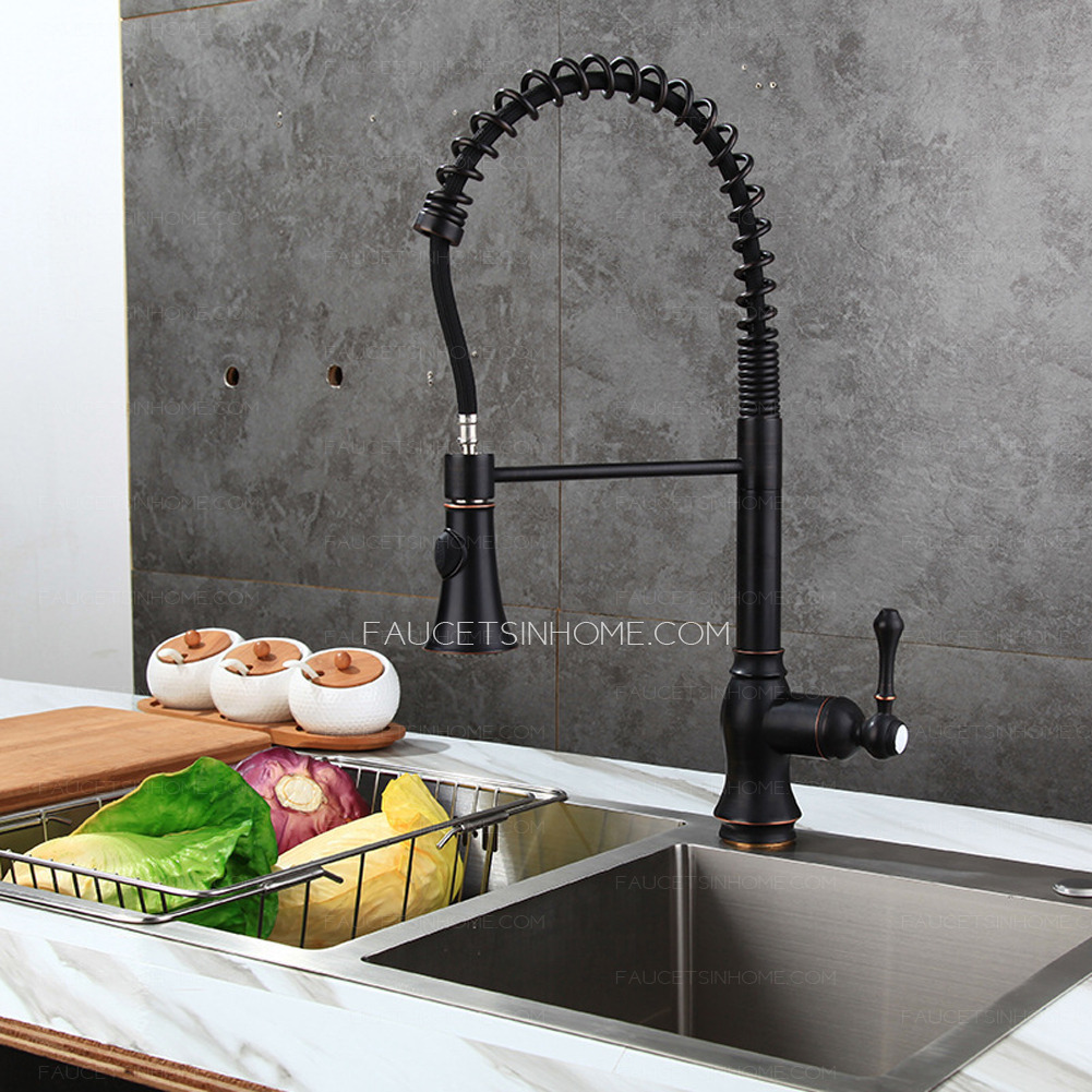 matte black chrome spring pull out kitchen faucet black handle pull out fth1807061004545