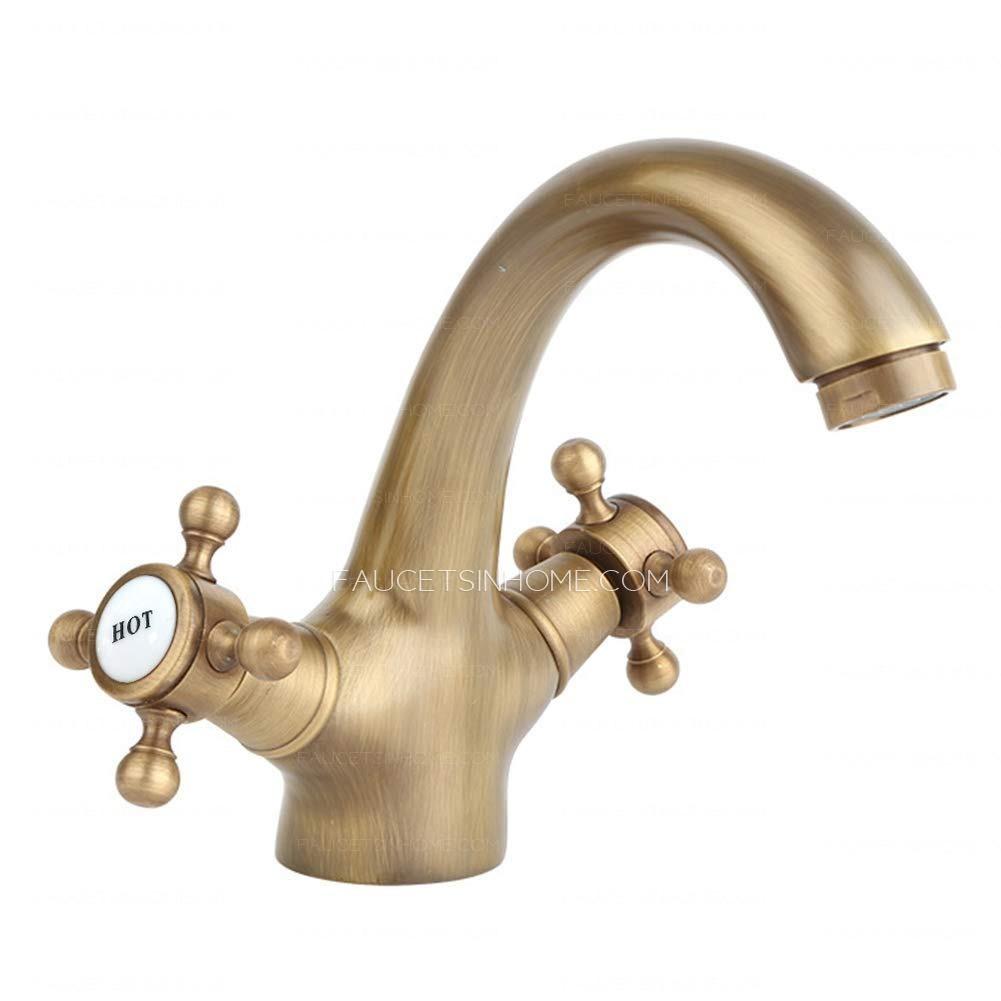 golden antique brass double cross handle bathroom sink faucet fth1809201536448