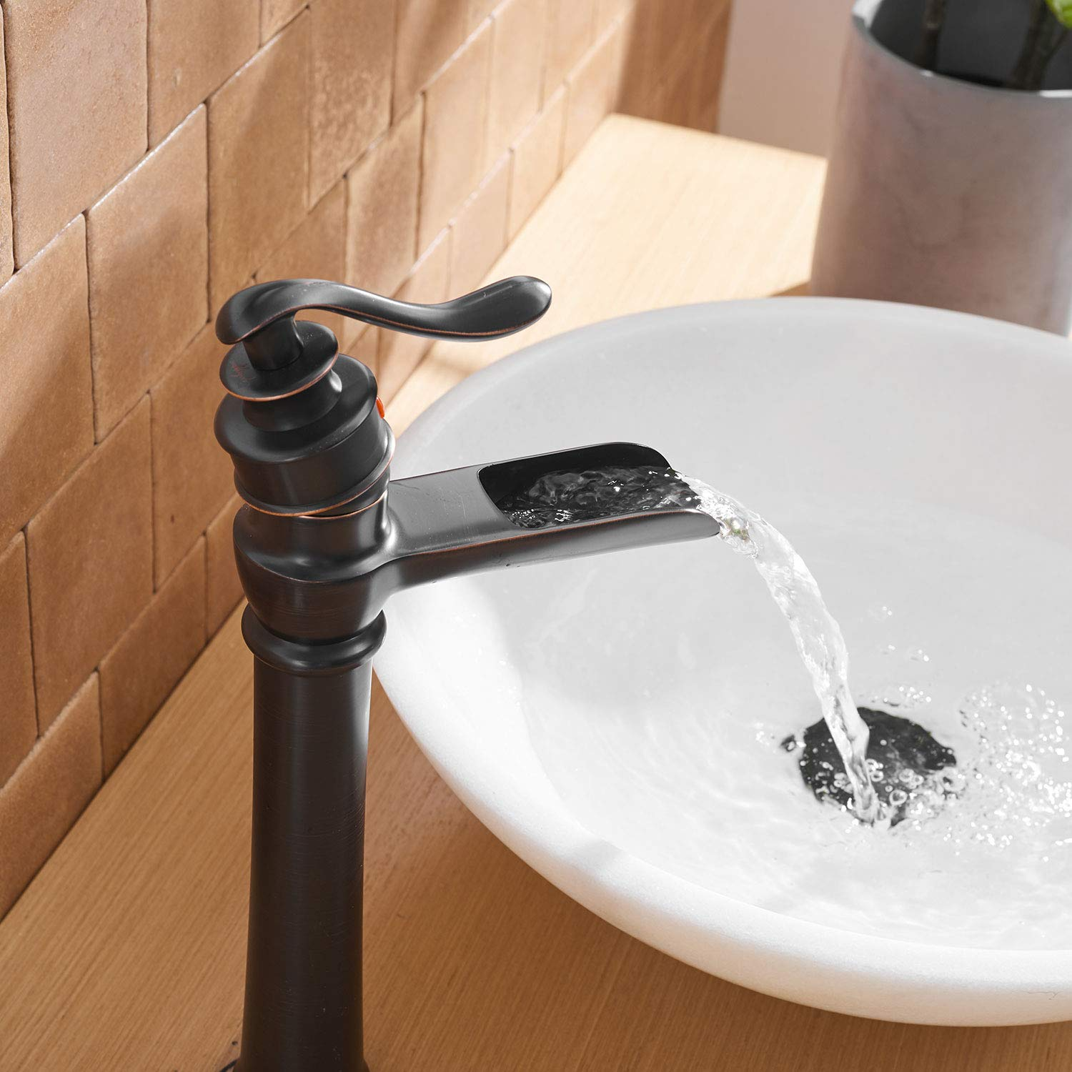 waterfall spout oil rubbed bronze bathroom faucet deck mounted vessel sink single lever handle commercial basin mixer tap faucet one hole