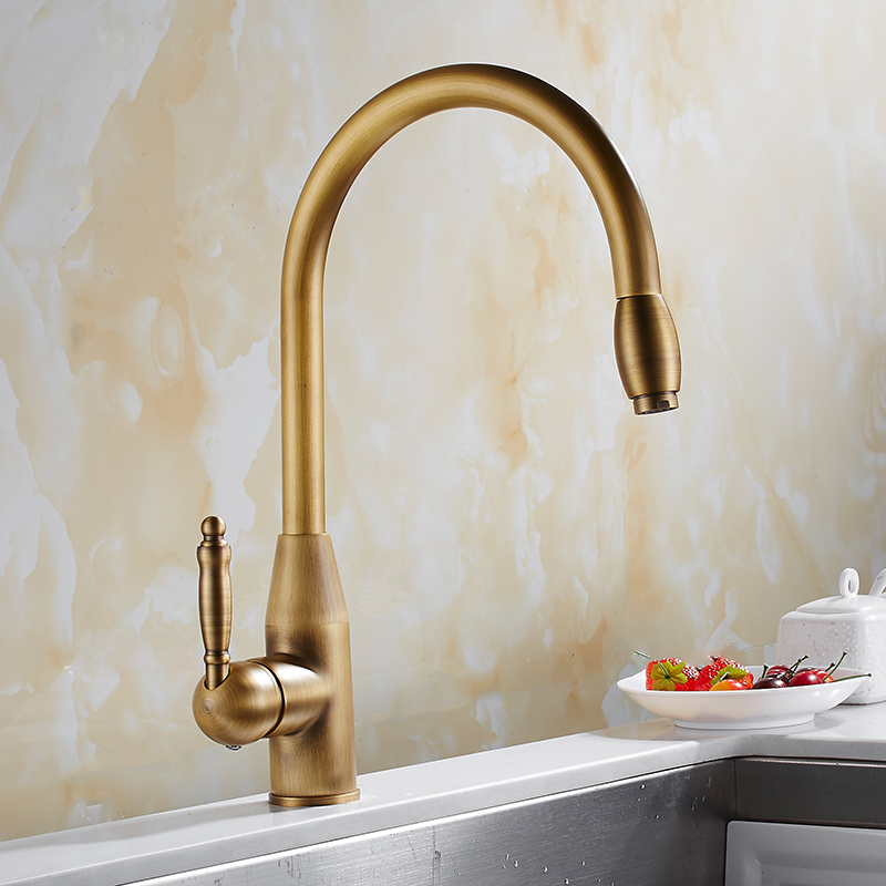 pull out kitchen faucet antique brass single hole cold and hot water fth190719162226