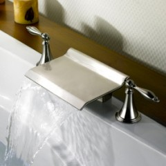 Nickel Brushed Waterfall Widespread Bathtub Faucet F0476