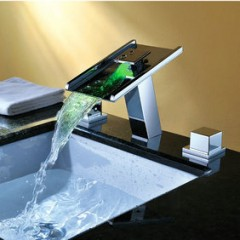 LED Color(Three Colors)Changing Contemporary Single Handle Waterfall Chrome Bathroom Sink Faucet F-8023F