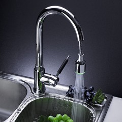 Solid Brass Pullout  Kitchen Faucet with Color Changing LED Light F0784-3