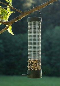 Jardinion Mangeoire pour oiseaux, Plastique, Accroche a l'arbre en decoration de jardin Noir STK
