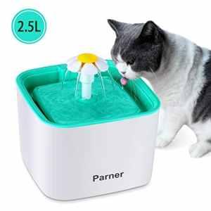 Parner Fontaine d'eau Automatique pour Chat et Chien avec Filtre Blanc