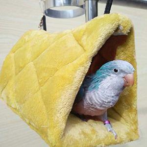 Wuudi Plusieurs Couleur Parrot jouet Hamac Bird Nest jouet pour oiseau Triangle Nid 17 * 17 * 2cm jaune