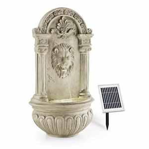 Blumfeldt Fontaine de jardin • 2W solaire • LED à 4 rayon intégré polyrésine • jeu d'eau avec tête lion crachant