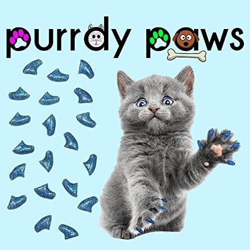 Purrdy Paws Doux Ongles Caps pour Chat Griffes Bleu Paillettes, Kitten, Blue Glitter