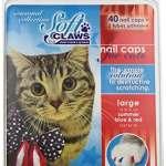 Soft Claws Inc Doux Griffes Feline Vernis à Ongles Nail Caps–40caches et adhésif pour Chat, Large, Rouge/Bleu