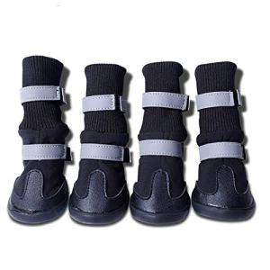 YUN MY GIRL Bottes de Protection pour Chien, Ensemble de 4 Chaussures de Chien imperméables pour Chiens Moyens et Grands – (4#) Chaussures de Protection pour Animaux de Plein air/protège-Pattes