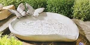 Abreuvoir pour oiseaux en céramique, effet PIERRE naturelle, lasuré blanc avec Vintage de aufsteckbaren papillon, 37,5x 27cm