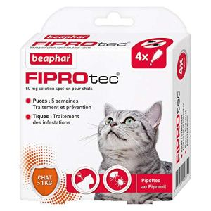 Beaphar – FIPROtec, pipettes anti-puces et anti-tiques au Fipronil – Chat – 4 pipettes
