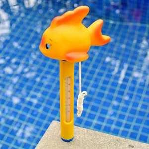 FOONEE Thermomètre Flottant pour Piscine, Eau de Dessin animé Thermomètre avec Fil pour extérieur/intérieur, Piscine, Baignoire, Spa, Aquariums. (Canard Jaune)
