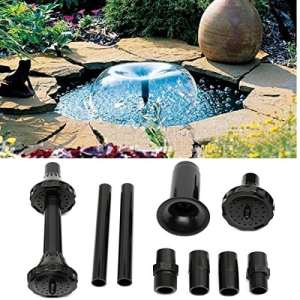 KING DO WAY Kit De Buse de Fontaine En Plastique, Jet D'eau Irrigation Arrosage Petite Fontaine Pour Jardin Extérieur Étang Bassins Buse Fontaine Spray Heads Noir Petit