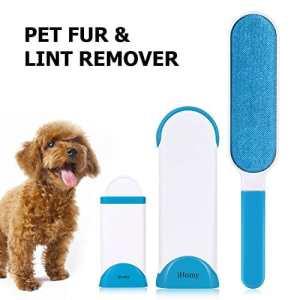 iHomy Brosse Anti-poils pour animaux domestiques – Brosse de Nettoyage Réutilisable pour Enlever les Poils d'animaux de compagnie avec poignée autonettoyante (Bleu)