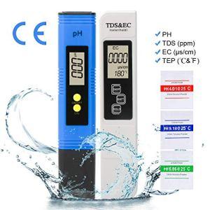 LAOYE PH-Mètre Numérique et Compteur TDS & EC & Thermomètre, Testeur de qualité de l'eau 4 en 1 Etalonnage Automatique pour l'eau Potable Nourriture Piscines Spas Aquariums Hydroponie