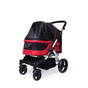 LBBZJM Poussette Haute Portable pour Animaux de Compagnie, Grande charrette pour Chien Chats et Chats Multiples Hors de la charrette Transporteur de Chiots et Chariots d'animaux,Red