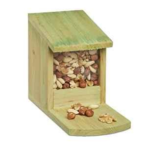 Relaxdays Mangeoire pour écureuil en bois nourriture animaux HxlxP: 17,5 x 12 x 25 cm résistant solide, vert